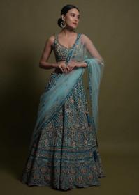 Blue color Raw Silk Fabric Lehenga Choli