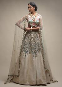 Ivory color Raw Silk Fabric Lehenga Choli