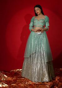 Silver and Green color Net Fabric Lehenga Choli