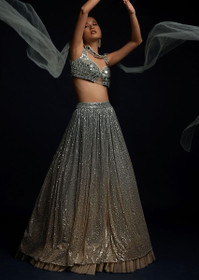 Grey color Net Fabric Lehenga Choli