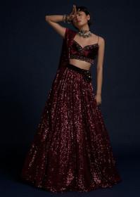 Maroon color Net Fabric Lehenga Choli