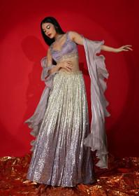 Silver and Light Purple color Net Fabric Lehenga Choli