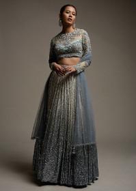 Powder Blue color Net Fabric Lehenga Choli