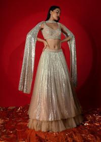 Silver and Powder Peach color Net Fabric Lehenga Choli