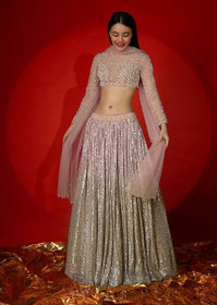 Powder Pink color Net Fabric Lehenga Choli