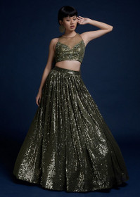 Mehndhi Green color Net Fabric Lehenga Choli