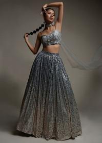 Greyish Blue color Net Fabric Lehenga Choli