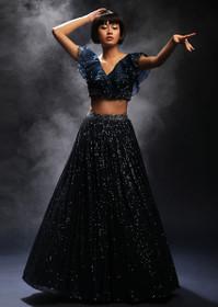 Royal Blue color Net Fabric Lehenga Choli