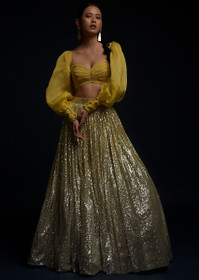 Green and Yellow color Net Fabric Lehenga Choli