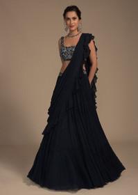 Midnight Blue color Georgette Fabric Lehenga Choli