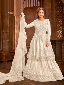 White color Net Fabric Indowestern Suit
