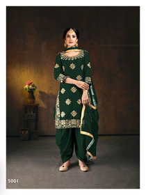 Dark Green color Embroidered Soft Silk Fabric Suit