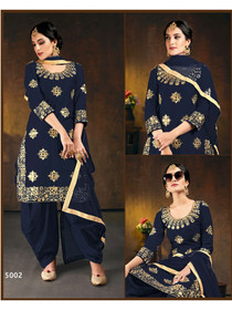 Royal Blue color Embroidered Soft Silk Fabric Suit