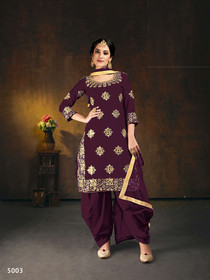 Wine color Embroidered Soft Silk Fabric Suit
