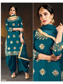 Blue color Embroidered Soft Silk Fabric Suit