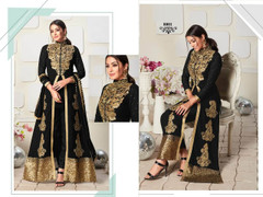 Black color Ban Neck Design Centre Cut Full Sleeves Embroidered Georgette Fabric Indo Western style Suit