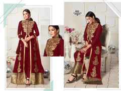 Red color Ban Neck Design Centre Cut Full Sleeves Embroidered Georgette Fabric Indo Western style Suit