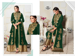 Green color Ban Neck Design Centre Cut Full Sleeves Embroidered Georgette Fabric Indo Western style Suit