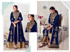 Indigo color Ban Neck Design Centre Cut Full Sleeves Embroidered Georgette Fabric Indo Western style Suit
