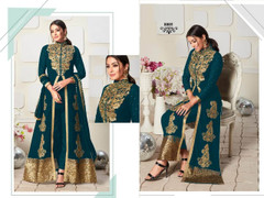Blue color Ban Neck Design Centre Cut Full Sleeves Embroidered Georgette Fabric Indo Western style Suit