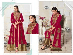 Magenta color Ban Neck Design Centre Cut Full Sleeves Embroidered Georgette Fabric Indo Western style Suit