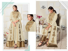 White color Ban Neck Design Centre Cut Full Sleeves Embroidered Georgette Fabric Indo Western style Suit