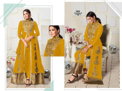 Yellow color Ban Neck Design Centre Cut Full Sleeves Embroidered Georgette Fabric Indo Western style Suit