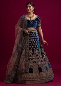 Blue color Velvet Fabric Lehenga Choli
