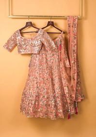 Peach color Net Fabric Lehenga Choli