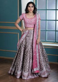 Grey color Silk Fabric Lehenga Choli