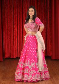 Hot Pink color Silk Fabric Lehenga Choli