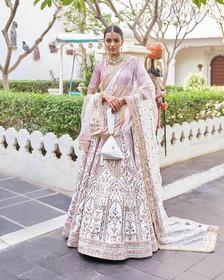 Off White color Raw Silk Fabric Lehenga Choli