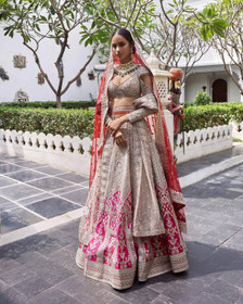 Beige and Pink color Pure Silk Fabric Lehenga Choli