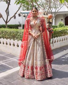 Beige and Red color Pure Silk Fabric Lehenga Choli