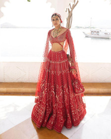 Red color Pure Silk Fabric Lehenga Choli