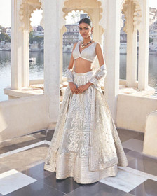 White color Georgette Fabric Lehenga Choli