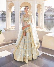 Powder Blue color Georgette Fabric Lehenga Choli