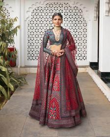 Maroon color Silk Fabric Lehenga Choli