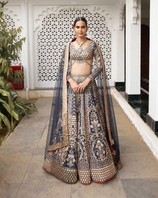 Navy Blue color Silk Fabric Lehenga Choli
