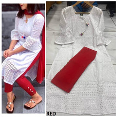 Red and White color Cotton Fabric Top and Bottom