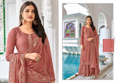 Light Onion shade Georgette Fabric Heavily Embroidered Suit