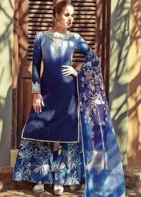 Blue color Pure Cotton Fabric Suit
