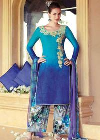 Double shade Blue color Pure Cotton Fabric Suit