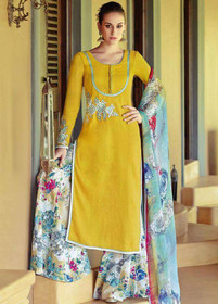 Yellow color Pure Cotton Fabric Suit