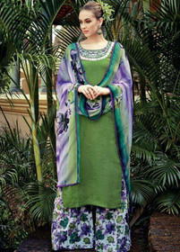 Green color Pure Cotton Fabric Suit