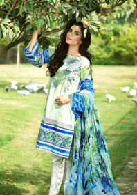 White and Green color Pure Cotton Fabric Suit