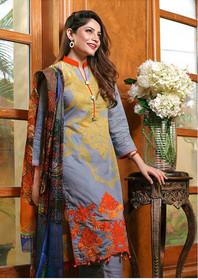 Blue color Pure Cotton Fabric Ban Neck Design Suit