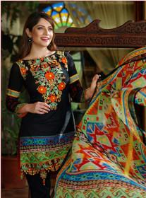 Black color Pure Cotton Fabric Ban Neck Design Suit