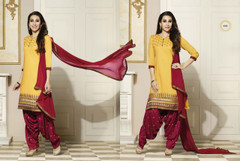 Yellow and Maroon color Pure Cotton Fabric Suit