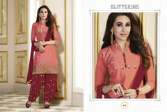 Peach and Maroon color Pure Cotton Fabric Suit